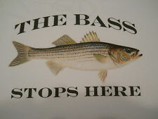 "Striped Bass Fishing T-Shirt ""The Bass Stops Here"" Fishing Tee Shirt Stripers"
