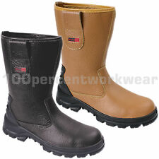 Blackrock SF01 Work Mens Safety Rigger Boots Shoes Tan Black Steel Toe Cap New