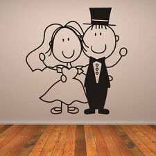 Bride And Groom Waving With Top Hat Wall Sticker Wedding Wall Art Decal