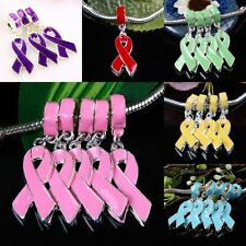 Enamel Ribbon Cancer Disease AWARENESS Dangle Charm Beads Findings Fit Bracelet