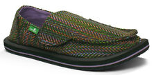 "Sanuk Kids NEW ""Rio"" SKF1046 RAINBOW Black Canvas Slip On Ons Shoes MANY SIZES"