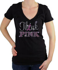 New BREAST CANCER THINK PINK Rhinestone Junior's V Neck T-SHIRT S-3XL Ribbon