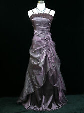 Cherlone Satin Purple Long Rose Prom Ball Wedding/Evening Gown Bridesmaid Dress