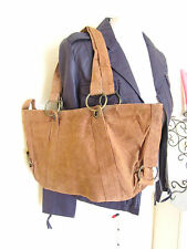 LADIES REAL SUEDE LEATHER SLOUCH TAN BROWN TOTE SHOULDER BAG SHOPPER HANDBAG VTG