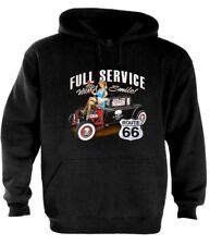 Full Service Route 66 Hoodie with Smile pin-up girl Hot rod waitress drive in