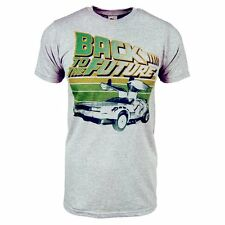 Mens Retro Back To The Future T Shirt Grey NEW Officially Licensed