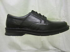 Mens Clarks Lace Up Casual Shoe, Leather, Black, Salute Free