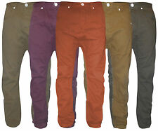 Mens New Chino Trousers Cotton Jeans Khaki Brown Red Regular Long Pants 28-36