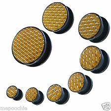 Plugs Pair of Acrylic Carbon Fiber Screw Fit Gold