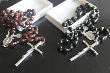BROWN or BLACK WOODEN ROSARY BEADS Rosaries MIRACULOUS JUNCTION Silver Crucifix