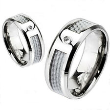 Ti Titanium Men's White Carbon Fiber w/ CZ Wedding Band Ring Size 5-13