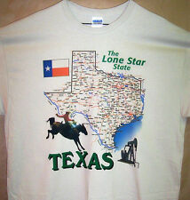 TEXAS THE LONE STAR STATE T Shirt Sz SM - 5XL  Map Oil Wells Cowboy and Flag