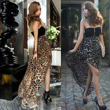 Sexy New Strapless chiffon Leopard Cocktail Party Clubwear Maxi Long Dress Y276
