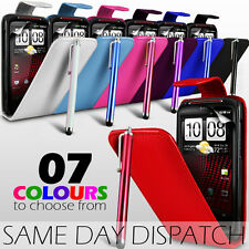 LEATHER FLIP CASE COVER,SCREEN PROTECTOR & STYLUS PEN FOR HTC SENSATION XE