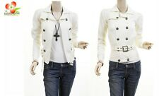 Ivory Double Breasted Fleece Belted Jacket Trench Blazer Coat Top XS S M L XL