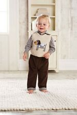 Mud Pie Baby Boys Puppy Love Collection Dog Sweater Vest Pants Top 3 Pc Set New