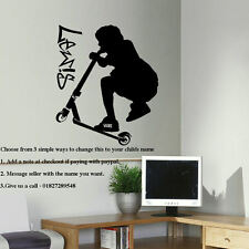 LARGE PERSONALISED STUNT SCOOTER TEENAGE BEDROOM WALL ART STICKER TRANSFER DECAL