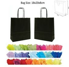 10 Black Paper Gift Bags With Tissue Paper - Recyclable Twist Handle Party Bag