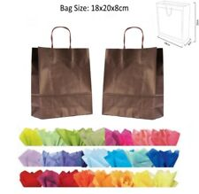 10 Brown Paper Gift Bags With Tissue Paper - Recyclable Twist Handle Party Bag
