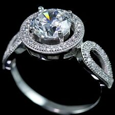 .925 Sterling Silver Cubic Zirconia CZ Fancy Halo Bridal Engagement Band Ring