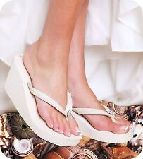 Bridal High Wedge Flip Flop with Sequins and Crystals in White or Ivory
