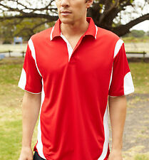 Brand NewContrast Panel Polo with Striped Collar Breezeway Fabric Sun Protection