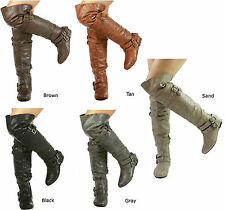 NEW Nature Breeze Vickie-16H Slouchy Buckle High Thigh Boots size 5.5-11