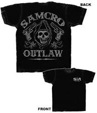 SONS OF ANARCHY SAMCRO OUTLAW BLACK T-SHIRT NEW !