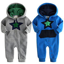"NWT Vaenait Baby Newborn Boy's Fleece Hoodie Jumpsuit Onepiece ""Lighting Star"""