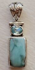 925 STERLING SILVER LARIMAR & BLUE TOPAZ PENDANT -choose your stone!