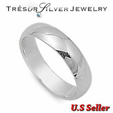 mens sterling silver 5mm plain wedding band ring size 5 6 7 8 9 10 11 12 womens