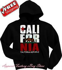 New Men's CALIFORNIA REPUBLIC BEAR Black Hoodie pullover sweatshirt state flag