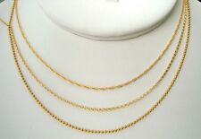 """14k YELLOW gold filled 1mm bead Rollo Rope chain necklace made USA 16"""" 18"""" 20"""""""