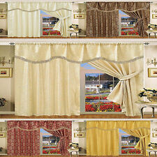 Jacquard Curtains Faux Silk Pencil Pleat Fully Lined Ready Made Pelmet, AMAZON
