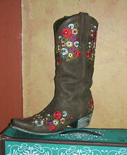 Gorgeous! Lane Boot Allie Cowgirl Fashion Leather Multi  Floral Embroidery