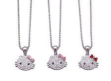 SMALL HELLO KITTY PENDANT CHARM NECKLACE PINK RED CRYSTAL SILVER TONE