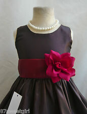 NWT PO1 BROWN / BURGUNDY DAVIDS WEDDING CHRISTMAS PAGEANT FLOWER GIRL DRESS