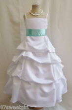 SPU WHITE POOL BLUE WEDDING PARTY RECITAL GOWN PAGEANT FLOWER GIRL DRESS