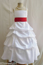 SPU WHITE RED WEDDING PARTY RECITAL GOWN PAGEANT FLOWER GIRL DRESS