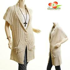 Women Outerwear Ivory Wool Knit Cable Ribbed Trench Cardigan Sweater Coat S M L
