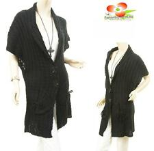 BLACK Women Outerwear Wool Knit Cable Ribbed Trench Cardigan Sweater Coat S M L