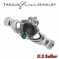 womens irish claddagh heart mystic topaz cz sterling silver ring size 4 to 12