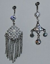 LARGE CHANDELIER CRYSTAL DANGLE BELLY RING - choose one style