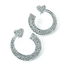 Heart Hoop Earrings Diamante Crystal Silver Colour Or Hematite Colour Stunning