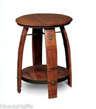 NEW AUTHENTIC STAMPED WINE BARREL WROUGHT IRON STAVE BISTRO SIDE END TABLE SHELF
