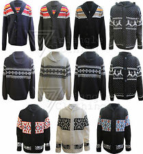 Mens Boys Cardigan Vintage Hooded Aztec Jumper Pull Over Xmas Reindeer Snowflake