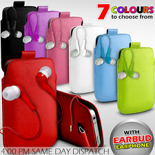 LEATHER PULL TAB POUCH SKIN CASE COVER+EARBUD EARPHONE FOR VARIOUS MOBILEPHONES