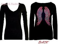 New Junior's Rhinestone PINK ANGEL WINGS Black V Neck Long Sleeve T Shirt faith