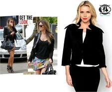 LADIES BLACK CROP BLAZER SWING JACKET SMART TAILORED SUIT COAT WORK TOP SHIRT