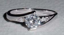PLATINUM-PLATE 925 SILVER SWISS DIAMOND PROMISE ENGAGEMENT RING size 4.75 - 6.25